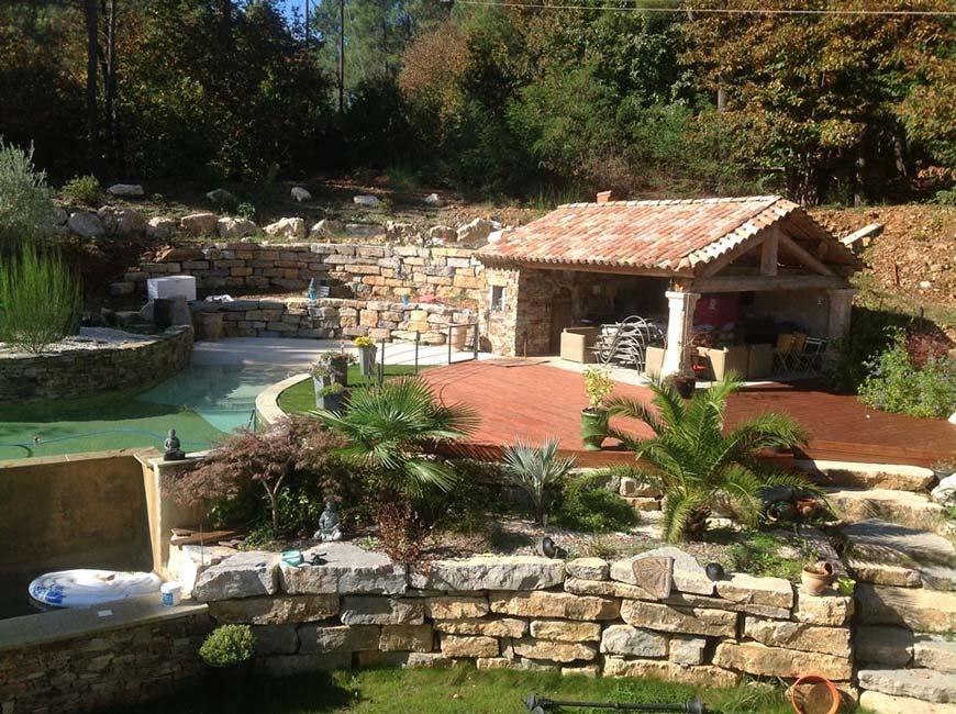 Favorit Construction d'une piscine paysagère avec murets pierre sèche  LJ74